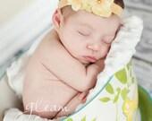 Yellow Pearl Hydrangea Flower Foldover Elastic Soft Newborn Toddler Infant HEADBAND. Elastic headband. Baby headband. photo prop