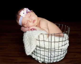 Purple Lavender Hydrangea Flower Foldover Elastic Soft Newborn Toddler Infant HEADBAND. Elastic headband. Baby headband. photo prop