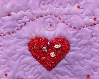 Red Heart Quilted Wall Hanging, Beaded Red Heart, Hand Beaded, Glass Beads