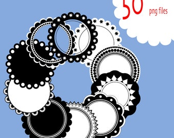 50 Scalloped digital clip art frames or labels - Digital clipart for scrapbooking, stationary - PNG - INSTANT DOWNLOAD  Pack 075