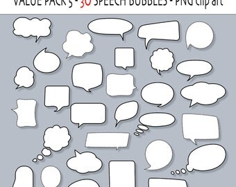 30 Speech or Chatting Bubbles clipart- PNG - INSTANT DOWNLOAD 183