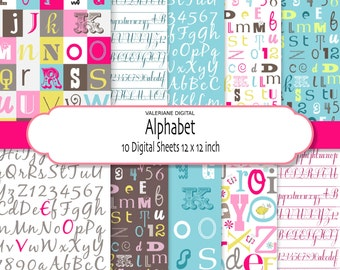 Alphabet Digital Paper Pack in bright colors-  Digital Scrapbook Paper- 10 jpg files 12x12 -Papers digital INSTANT DOWNLOAD Pack 039