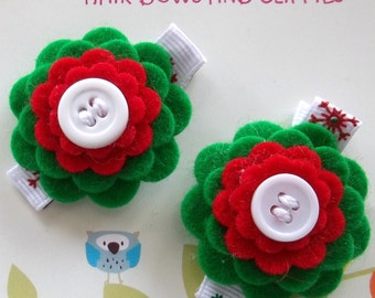 CHRISTMAS HOLIDAY Red Green Wool Felt Flower Hair Clips Babies Toddlers Girls