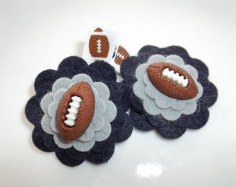 Blue Silver Gray Football Wool Felt Flower Hair Clips Babies Toddlers Girls