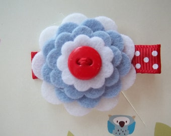 White, Blue and Red Wool Felt Flower Hair Clip Clippie Baby Toddler Girls
