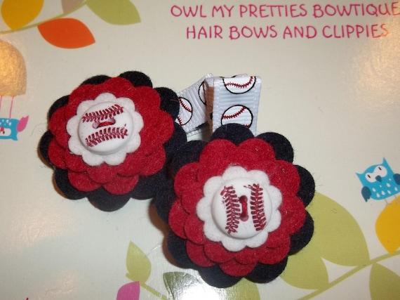 CARDINALS Boston Red Sox Atlanta Braves Minnesota Twins Cleveland Indians Nationals Baseball felt flower Hair Clips Bow Babies Toddlers Girl