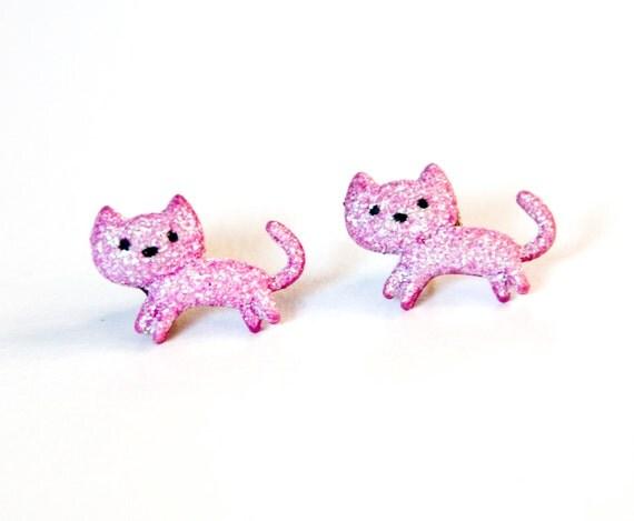 Pink Cat Earrings, Cats, Kitten Earrings, Cat Lady, BIrthday Gift, Lucky Cat, Lucky Cat Earrings, Retro Earrings, Cat Jewlery, Cat Studs