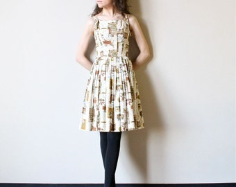 50s Sundress Country Western Nashville Print Dress, Pleated skirt cotton party frock, petite dress, cream, sienna brown, olive green