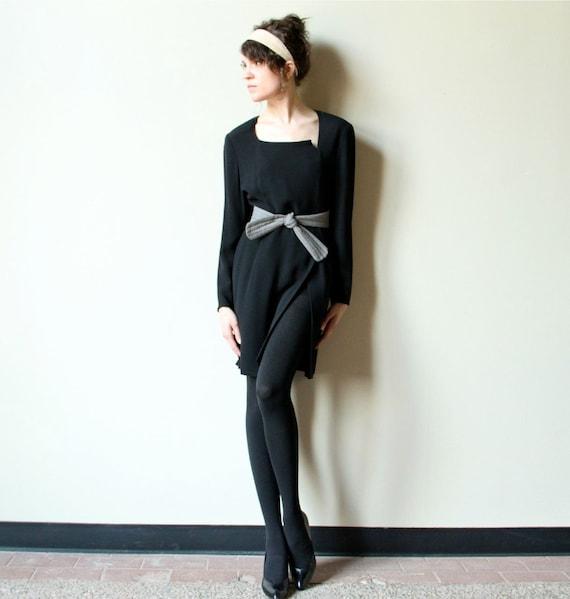 RESERVE 90s Giorgio Armani Collection black mini dress, minimalist office fashion LBD, asymmetrical avant garde asymmetrical power suit
