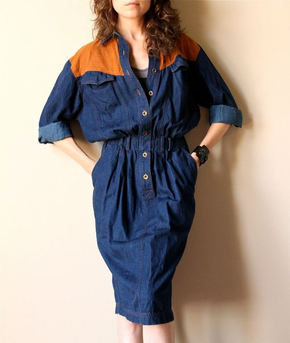 RESERVE Equestrian Shirt Dress - 80s 90s chambray dress, dark indigo blue denim & sienna brown corduroy, slouchy lightweight summer vibe