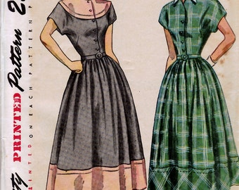 1940's Misses' One-Piece Dress with Detachable Collar  Simplicity 2481  Size 12  Bust 30