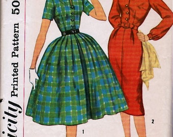 1950's Misses' One-Piece Dress With Two Skirts  Simplicity 2622  Size 12  Bust 32
