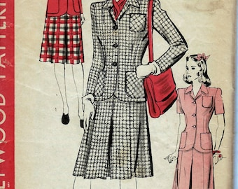1940's Misses' Two-Piece Suit  Hollywood Pattern 1245  Size 16  Bust 34