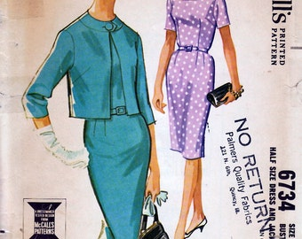 1963 Misses' Dress and Jacket  McCall's 6734  Size 14 1//2  Bust 35