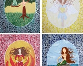Art Nouveau inspired Elemental Goddesses set
