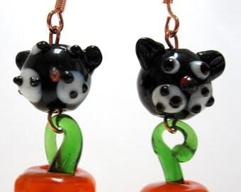 Halloween Earrings Black Cat Pumpkin Lampwork Earring