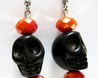 Black Skull Earrings Day of the Dead Jewelry