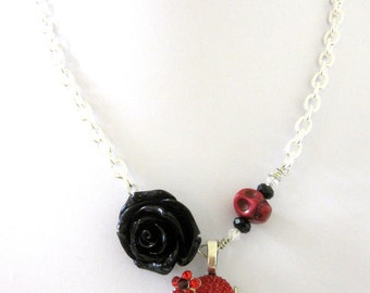 Spider Necklace Day of the Dead Sugar Skull Jewelry Rose Red Black