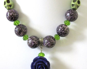 Day of the Dead Necklace Sugar Skull Green Purple Rose