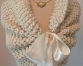 Wedding Shawl/Wedding Cape/Bridal Bolero/White Shrug/Bridal Shawl/Ivory Shawl/Winter Wedding/Shawl with Ribbon/ Bridal Wrap/White Shawl/Wrap