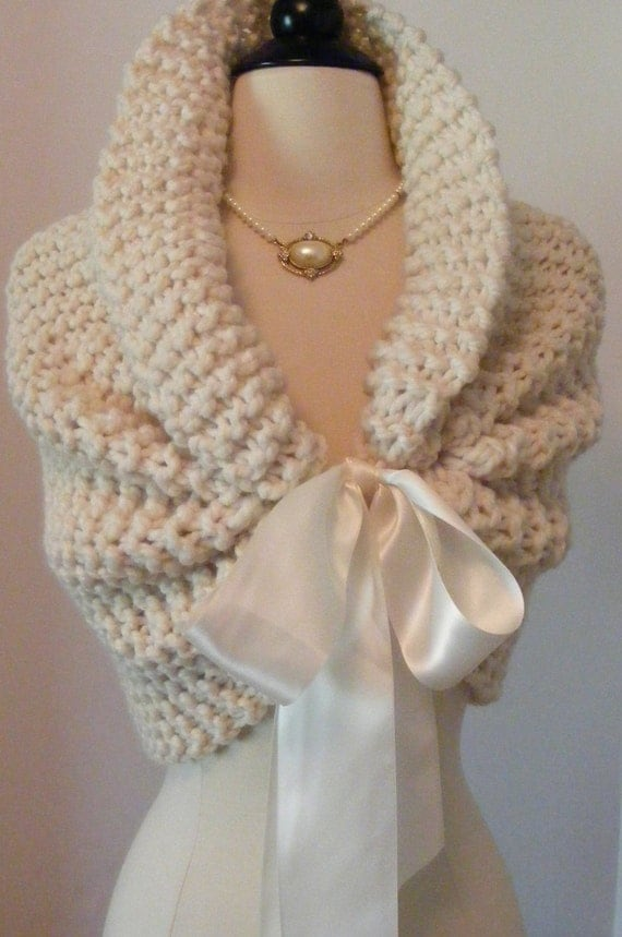 Wedding Shawl / Bride Bolero / Shrug / Bolero / Bridal Shawl / Ivory Shawl / Winter Wedding / Shawl with Ribbon