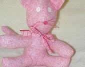 Pink Fabric Stuffed Cat
