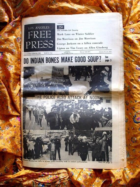 L. A. Free Press 1971 Indians Vietnam War Tim Leary LSD Allen Ginsberg Poet Jim Morrison Doors Politics Freak Bros Cobb Beefheart Byrds