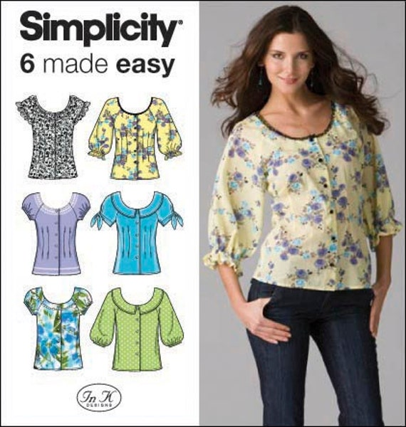 Simplicity Pattern 2936 Misses' Six Cute and Easy Buttoned Blouse Patterns Sizes 16-24 New