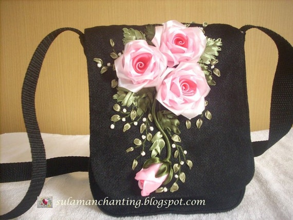 Purse with ribbon embroidery black messenger pink silk