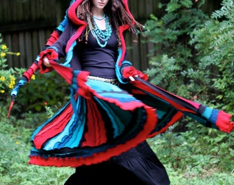 Made for you Custom size and color palette  Kaleidoscope upcycled recycled sweater elf  dream traveling coat