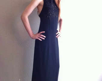 Long black wool dress with beaded accents- SALE