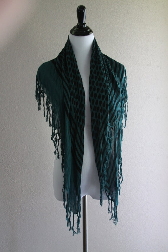 blue pattern scarf with tassel fringe all over