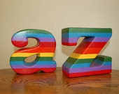 Vintage Ceramic A to Z Letters Alphabet Bookends Display