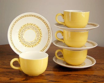 Midcentury Sierra Cup Saucer Set Max Schonfeld Design Gladding Mcbean Ironstone Ovenproof Dishwasher Safe Yellow Brown Scroll Ribbed Pattern
