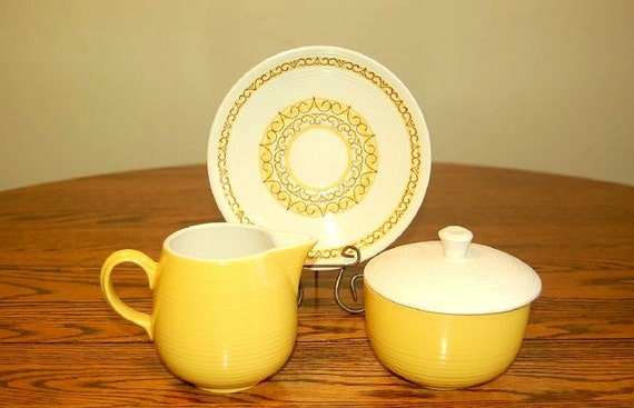 Vintage Sierra Ironstone Cream and Sugar Set with Coordinating Saucer