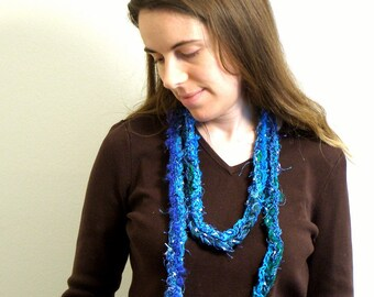 Blues and Greens Rainbow Boa (RAINBOA) - Crocheted Colorful Scarf - 60 Inches long