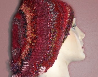 Zinfandel and Bordeaux Beret or Slouch Style Hat - Adult-Sized - Crocheted