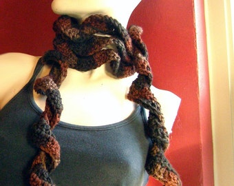 Soft Spiral Scarf of Cocoa, Chocolate, and Latte - Hand Crocheted Scarf - over 6 feet long