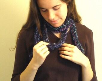 Dark Blue RAINBOW BOA (Rainboa) - Crocheted Colorful Scarf - 65 Inches long