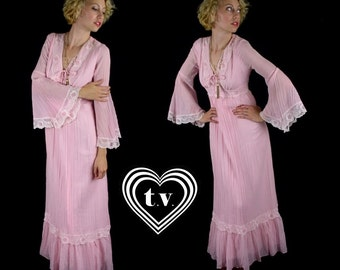 deadstock vtg 70s pink gauzy CORSET bell sleeve Victorian MAXI DRESS lace festival xs/s hippie boho