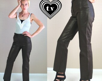vtg 80s Brown High Waist BUTTERY LEATHER PANTS moto Small/27 trousers xs tight skinny motorcycle