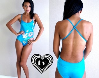 vtg 80s bright aqua FLORAL PRINT open back SWIMSUIT swim Small bathing suit