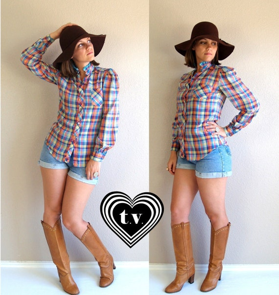 sale vtg 70s RAINBOW PLAID fitted puff sleeve BLOUSE top shirt Small colorful boho