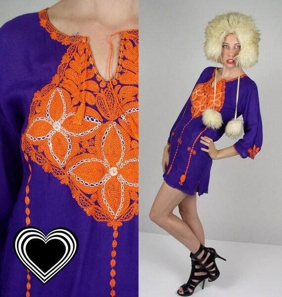 authentic vtg 60s purple WOODSTOCK embroidered hippie MINI DRESS xs/s tunic ethnic gypsy
