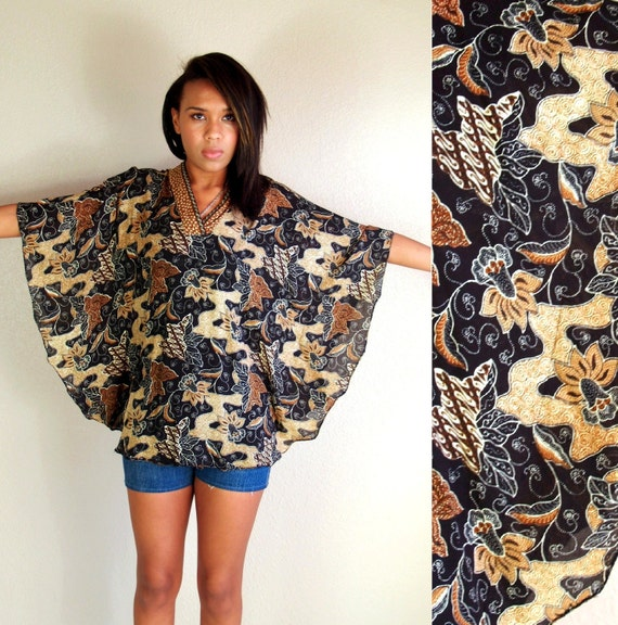 vtg 70s BATIK ethnic PRINT CAPE top blouse shirt os festival hippie boho
