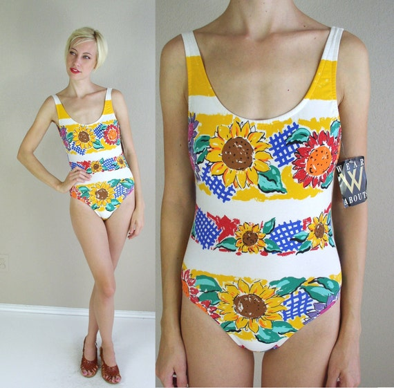 NWT deadstock vtg 90s white SUNFLOWER revival print SWIMSUIT grunge Medium swim bathing suit