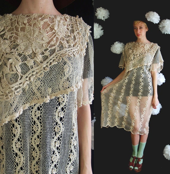 vtg 70s Taupe Sheer CROCHET Angel Sleeve DRESS pleated L/Xl hippie festival wedding