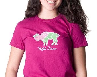 Ladies T-shirt Princess Buffalo Crown, Pink, Green and Cute