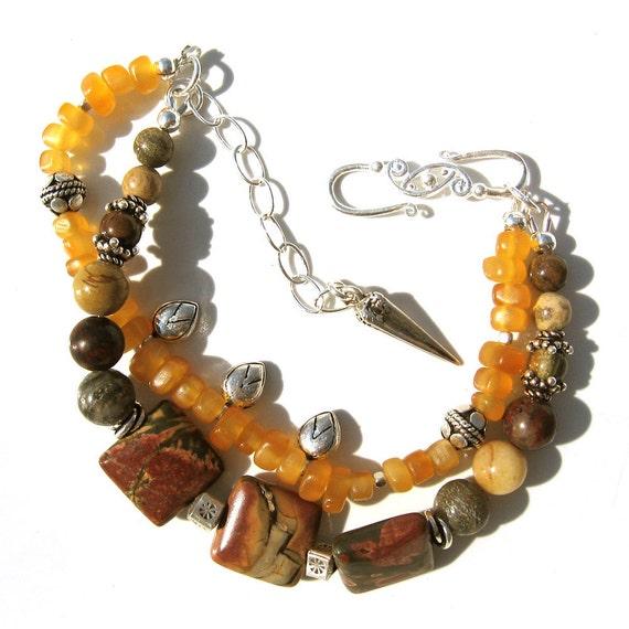 Beaded Bohemian Bracelet- Amber and Jasper- Silver Bracelet