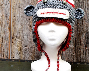 Sock Monkey Earflap Hat